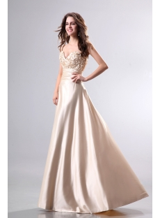 Elegant Champagne Graduation Dress with Sweetheart