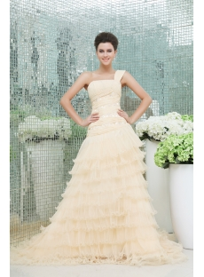 Elegant Champagne One Shoulder Wedding Dress