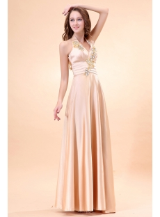 Elegant Halter Champagne Plus Size Evening Gown