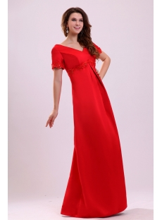 Elegant Modest Satin Short Sleeves Mother of Bride Dress