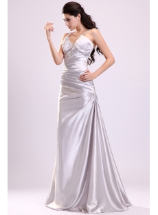 Elegant Pleats Silver Satin 2014 Prom Dress