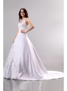 Exquisite Embroidery Halter Princess Wedding Dress