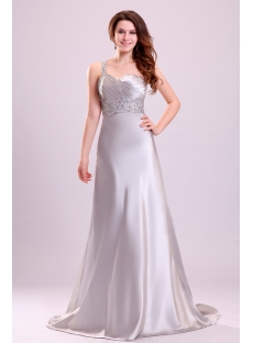 Exquisite Silver Satin One Shoulder Celebrity Dress