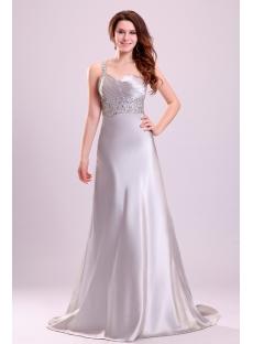Exquisite Silver Satin One Shoulder Celebrity Dress