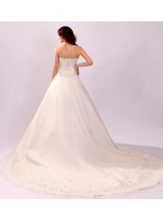 Exquisite Strapless Embroidery Bridal Gown with Chapel Train