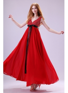 Fabulous Red Chiffon Plus Size Celebrity Dress