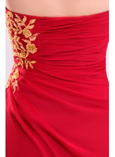 Fancy Red Chiffon with Gold Long Party Dress with Slit