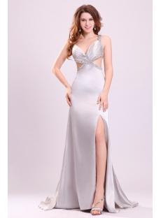 Fancy Summer Sexy Long Slit Cocktail Dress with Detachable Train