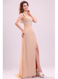 Fantastic One Shoulder Chiffon Cocktail Evening Dress with Slit Front