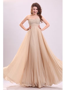 Fashion Beaded Pleated Sweetheart Chiffon Plus Size Evening Dress