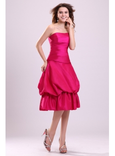 Glamorous Hot Pink Taffeta Bubble Short Quinceanera Gown
