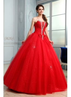 Glamorous Red Jeweled Quinceanera Gown Dress