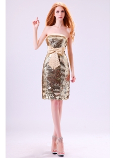 Gold Sequins Short Strapless Evening Dress with Bow