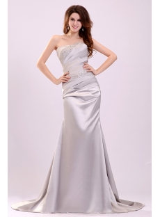 Gorgeous Silver Strapless Formal Evening Dress with Train