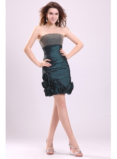 Graceful Hunter Green Mini Cocktail Dress with Flowers