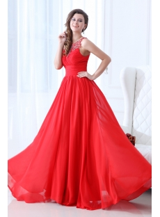 Graceful Red Chiffon Prom Gown 2014 Spring
