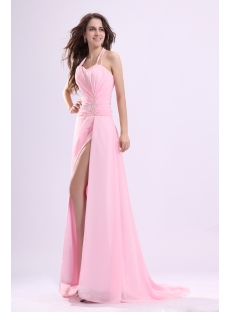 Halter Pink Long Sexy Evening Dress with Slit Front