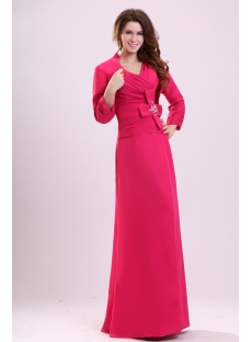 Hot Pink Modest Long Dress for Mother of Groom with Jacket