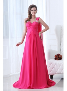 Hot Pink One Shoulder Evening Dress 2014 with Sash