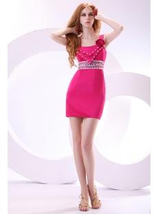Hot Pink Straps Mini Cocktail Dress