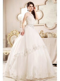Ivory Modest Halter Bridal Gown