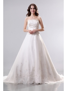 Ivory Strapless Mock Two in One Organza Bridal Gown