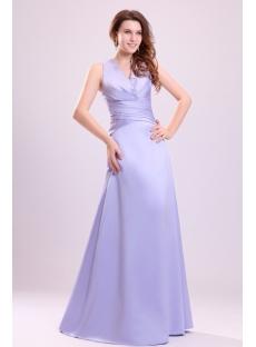 Lavender Modest V-neckline Graduation Dress for College