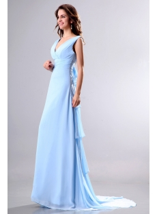 Light Blue V-neckline Formal Evening Gown with Train
