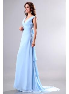 Light Blue V-neckline Formal Evening Gown with Train