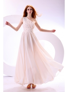 Light Champagne Chiffon One Shoulder Graduation Dress