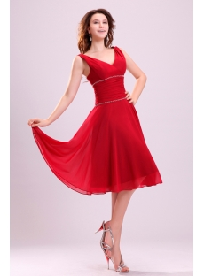 Light Red Chiffon Junior Prom Dress in Tea Length