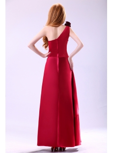 Lovely Burgundy One Shoulder Graduation Dress with Bow