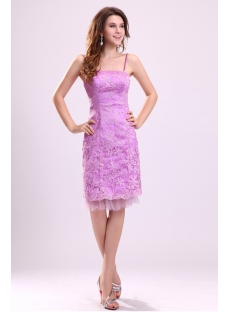 Lovely Fuchsia Knee Length Lace Beach Bridal Gown