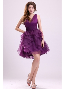 Lovely Grape Ruffle Short Sweet 16 Dress