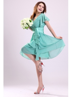 Lovely Sage Chiffon Butterfly Sleeves Cocktail Dress