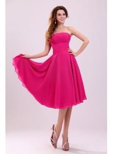 Lovely Tea Length Fuchsia Chiffon Homecoming Dress
