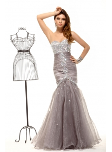 Luxurious Pretty Gray Silver Mermaid Evening Dress 2014