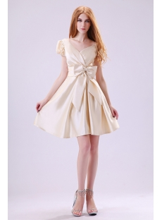 Modest Champagne Short Sleeves Graduation Dresses 8th Grade