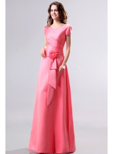 Modest Coral V-neckline Short Sleeves Bridesmaid Dress