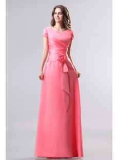Modest Coral V-neckline Short Sleeves Bridesmaid Dress:1st-dress.com