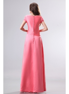 Modest Coral V-neckline Short Sleeves Bridesmaid Dress