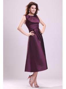 Modest Grape Tea Length Taffeta Formal Evening Gown
