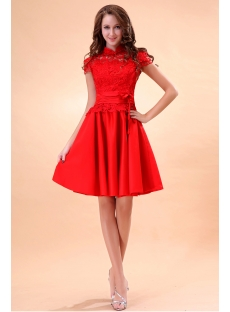 Modest High Neckline Short Lace Graduation Dresses