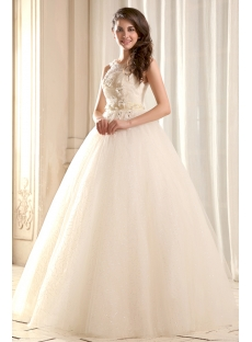 Modest Illusion Neckline Quinceanera Gown with V-Back