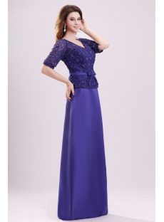 Modest Royal Blue Lace Long Evening Dress for Mother of Bride