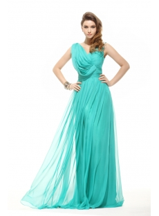 Modest V-neckline Long Chiffon Evening Dress 2014 Spring