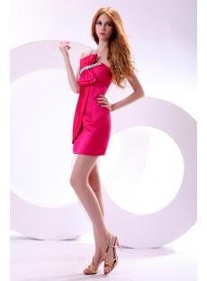One Shoulder Hot Pink Hottest Club Dresses