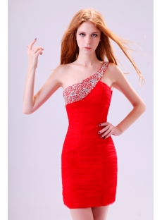 One Shoulder Red Club Dresses for Curvy Girls