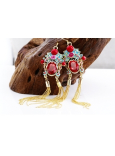 Peking Opera Mu Guiying Tassel Earrings
