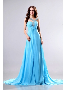 Perfect Flowing Blue Celebrity Dress